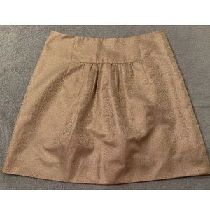 J Crew Gold Metallic Skirt Mini A-Line Size 2